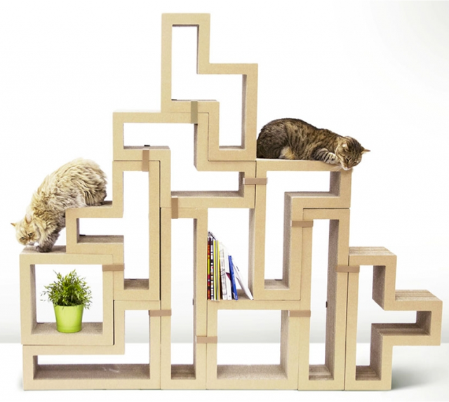 modular cat climbing structure made from paper at katris
