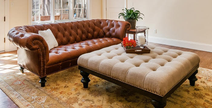 Custom Leather Sofa From Pine Street Natural Interiors