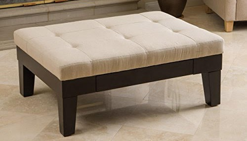 AMAZON.COM: Tucson Natural Fabric Storage Ottoman Coffee Table. Itu0027s Linen  And Hardwood, But Finish And Filling Is Unknown.